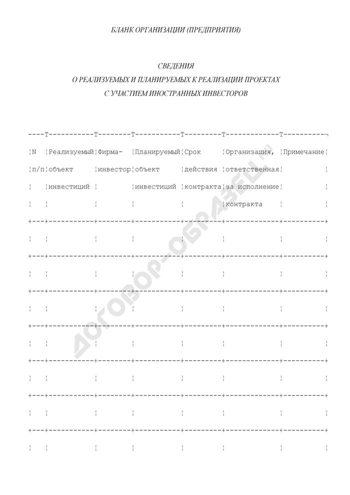 Сведения о реализуемых и планируемых к реализации проектах с участием иностранных инвесторов в области строительства. Страница 1