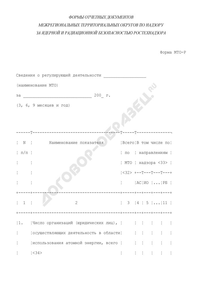 Сведения о регулирующей деятельности межрегионального территориального округа по надзору за ядерной и радиационной безопасностью Ростехнадзора. Форма N МТО-Р. Страница 1