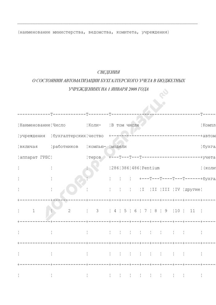 Сведения о состоянии автоматизации бухгалтерского учета в бюджетных учреждениях Московской области на 1 января 2008 года. Страница 1