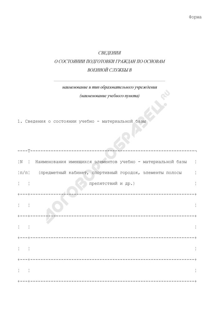 Сведения о состоянии подготовки граждан по основам военной службы. Страница 1