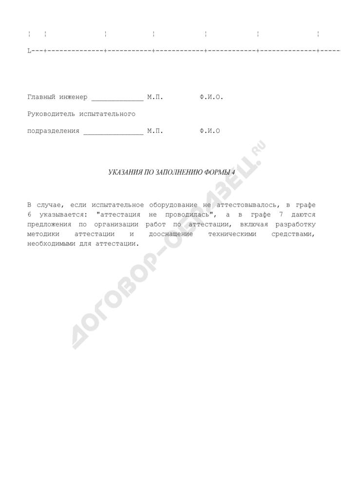 Сведения о состоянии испытательного оборудования, применяемого на предприятии. Форма N 4. Страница 2