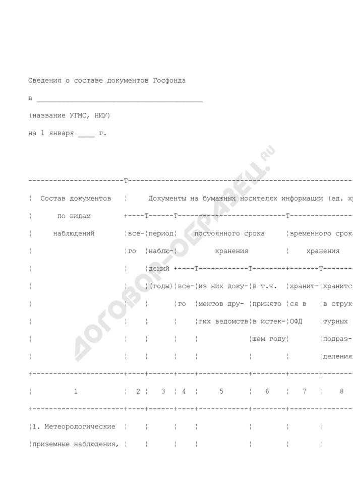 Сведения о составе документов Госфонда. Страница 1