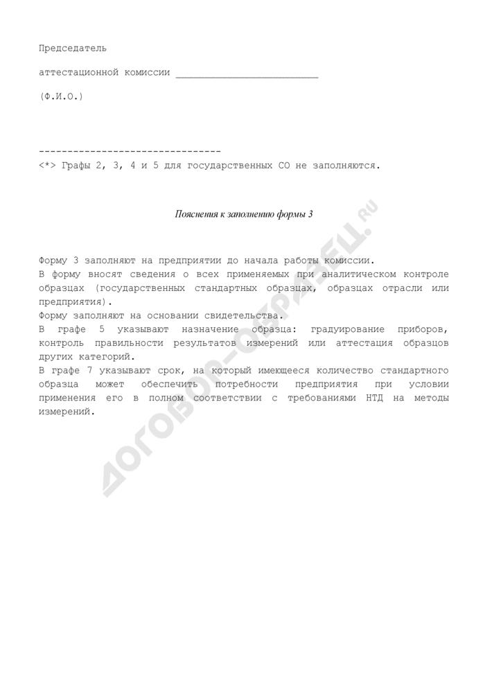 Сведения о стандартных образцах, применяемых при аналитическом контроле. Форма N 3 (рекомендуемая). Страница 2