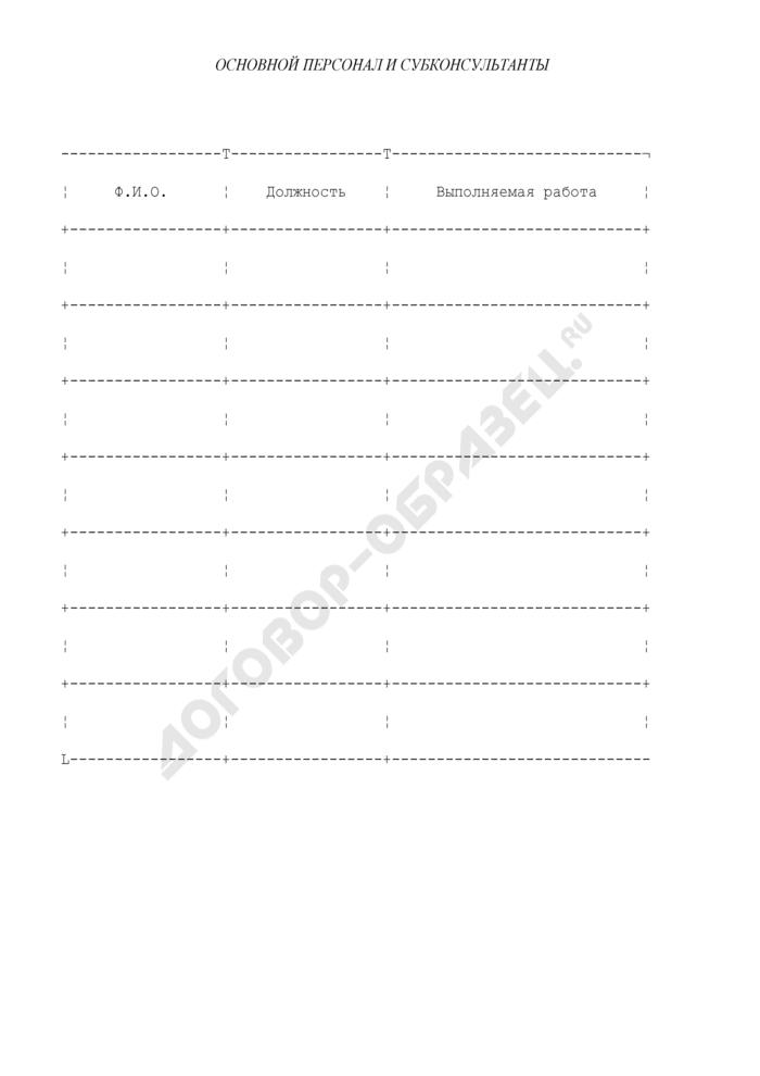 Основной персонал и субконсультанты (приложение к государственному контракту на оказание консультационных услуг). Страница 1