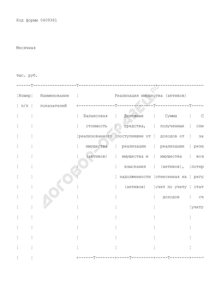 Сведения о ходе реализации имущества (активов). Форма N 0409361. Страница 2