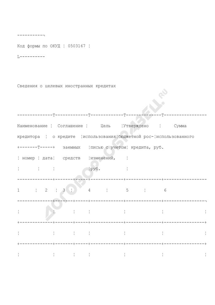 Сведения о целевых иностранных кредитах. Страница 1