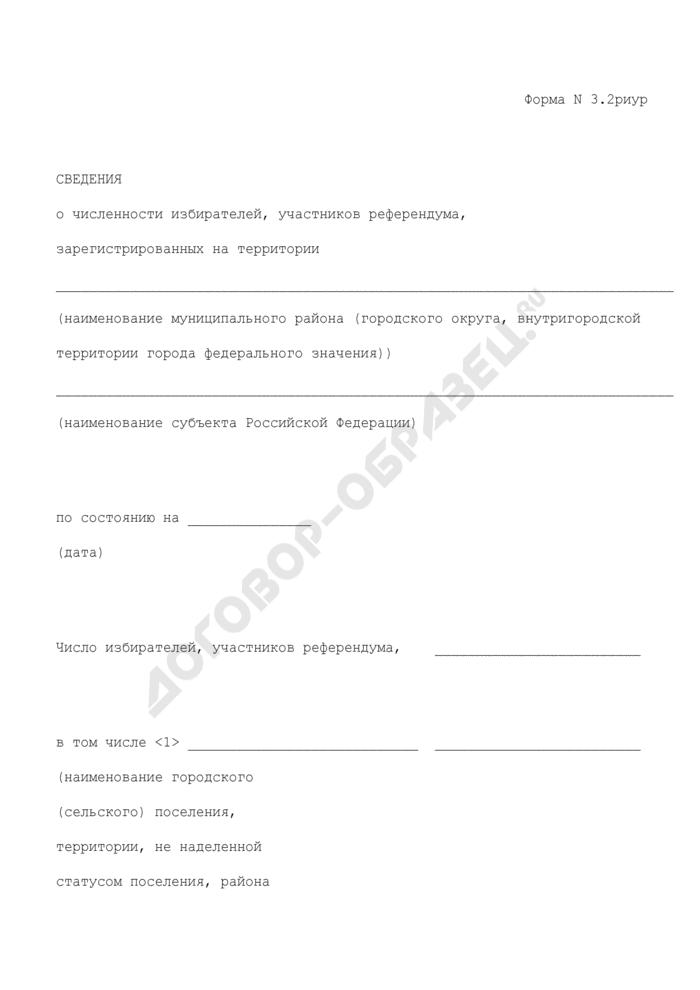 Сведения о численности избирателей, участников референдума, зарегистрированных на территории муниципального района (городского округа, внутригородской территории города федерального значения) субъекта Российской Федерации. Форма N 3.2риур. Страница 1