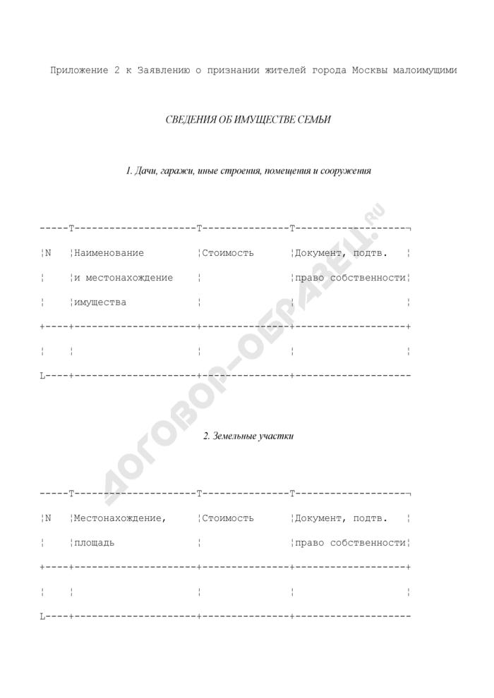 Сведения об имуществе семьи (приложение к заявлению о признании жителей города Москвы малоимущими). Страница 1