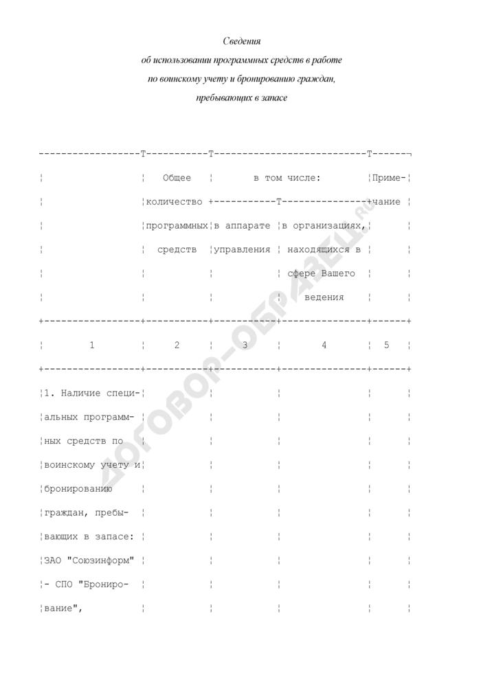 Сведения об использовании программных средств в работе по воинскому учету и бронированию граждан, пребывающих в запасе. Страница 1