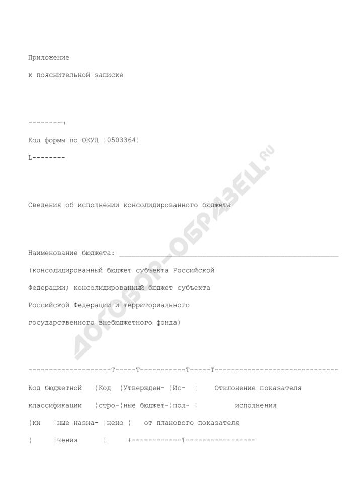 Сведения об исполнении консолидированного бюджета (приложение к пояснительной записке). Страница 1