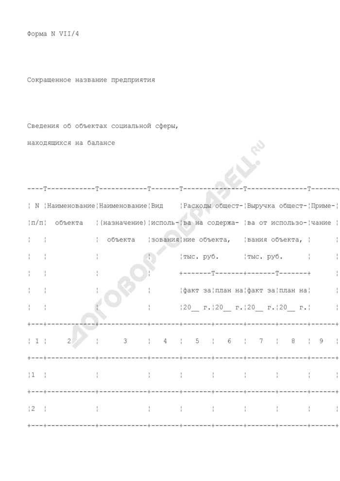 Сведения об объектах социальной сферы, находящихся на балансе предприятия, находящегося в сфере ведения и координации Роспрома. Форма N VII/4. Страница 1