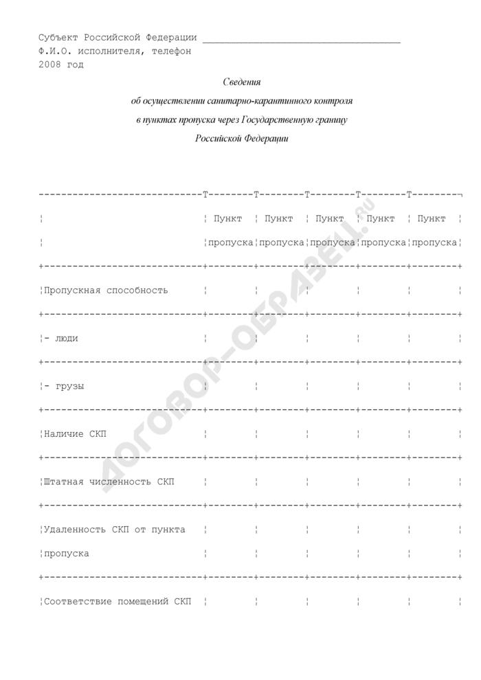 Сведения об осуществлении санитарно-карантинного контроля в пунктах пропуска через Государственную границу Российской Федерации. Страница 1