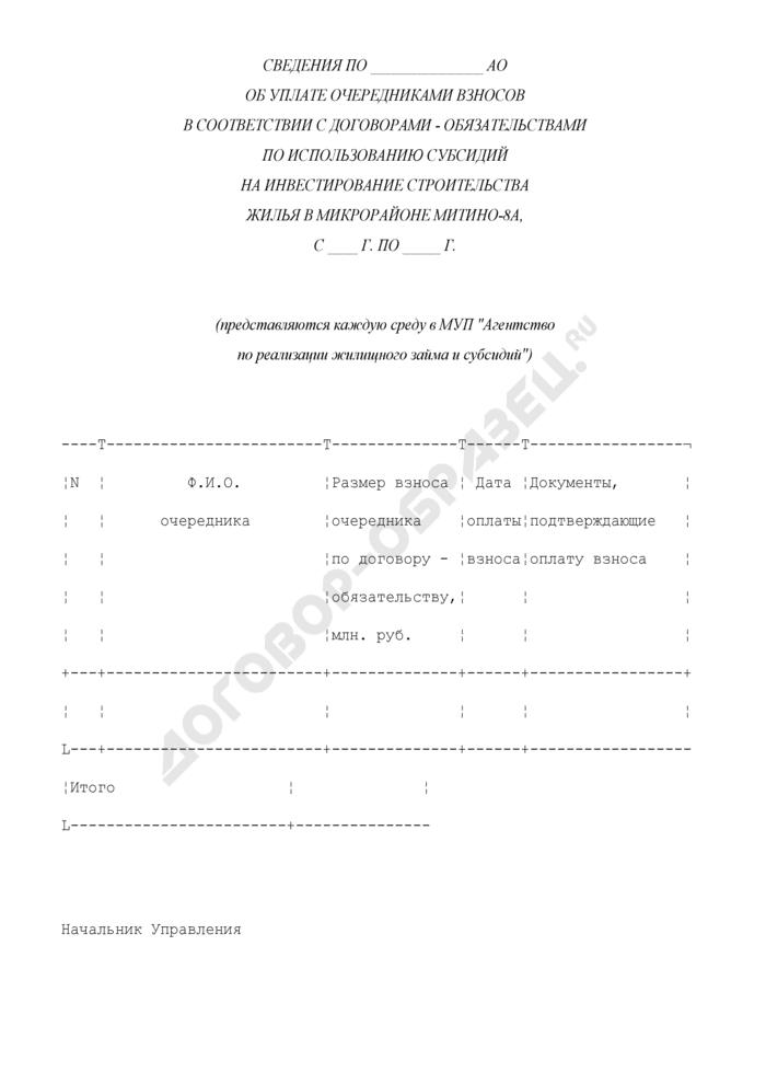 Сведения об уплате очередниками взносов в соответствии с договорами - обязательствами по использованию субсидий на инвестирование строительства жилья. Страница 1