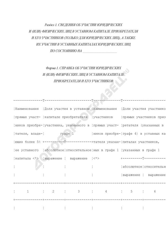 Сведения об участии юридических и (или) физических лиц в уставном капитале приобретателя и его участников (только для юридических лиц), а также их участии в уставных капиталах юридических лиц. Страница 1