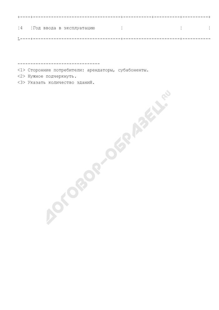 Сведения об учреждении (объекте) бюджетной организации комплекса социальной сферы города Москвы с объемом энергопотребления до 1 тыс. т у.т. включительно. Форма N 2. Страница 2