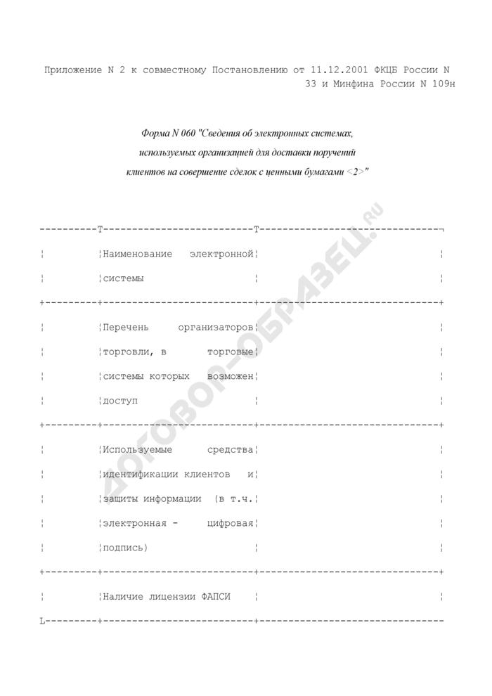 Сведения об электронных системах, используемых организацией для доставки поручений клиентов на совершение сделок с ценными бумагами. Форма N 060 (отчетность профессиональных участников рынка ценных бумаг). Страница 1