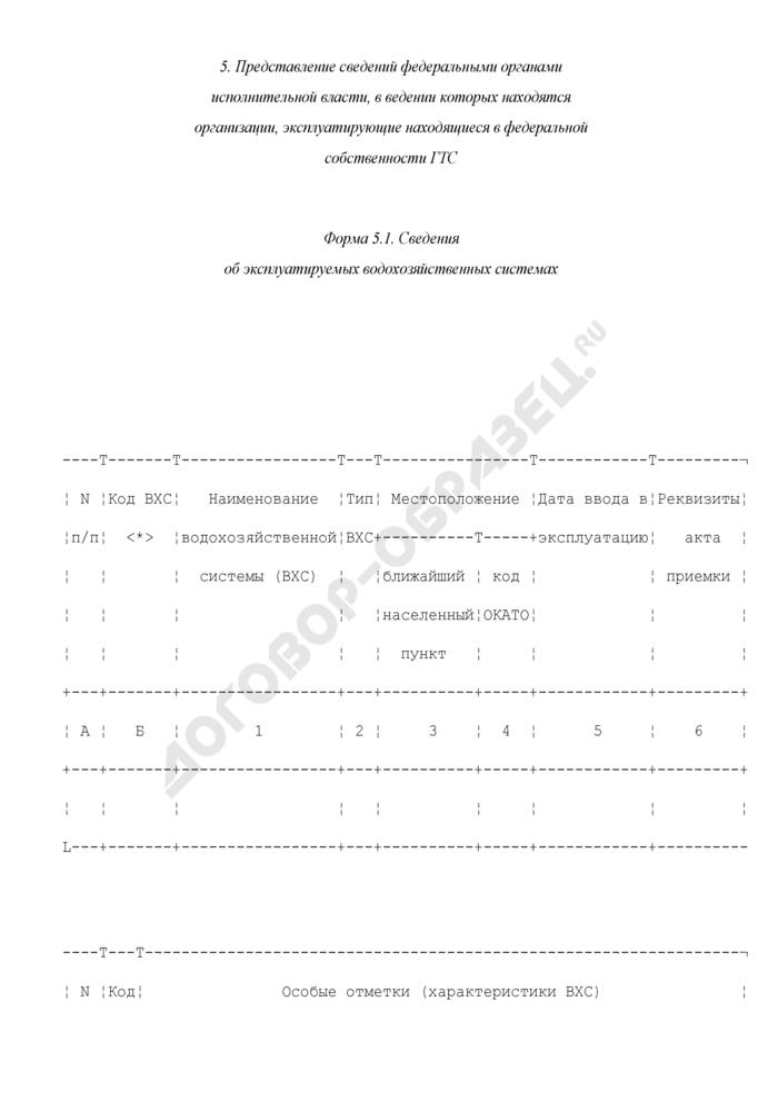 Представление сведений федеральными органами исполнительной власти, в ведении которых находятся организации, эксплуатирующие находящиеся в федеральной собственности ГТС об эксплуатируемых водохозяйственных системах. Форма N 5.1. Страница 1