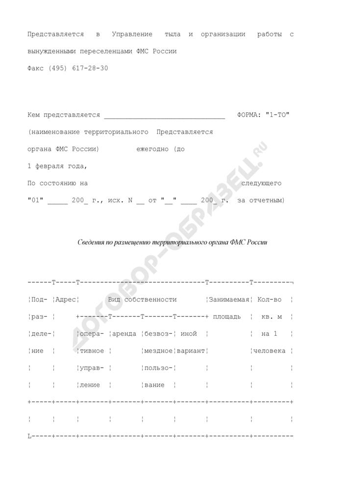 Сведения по размещению территориального органа ФМС России. Форма N 1-ТО. Страница 1