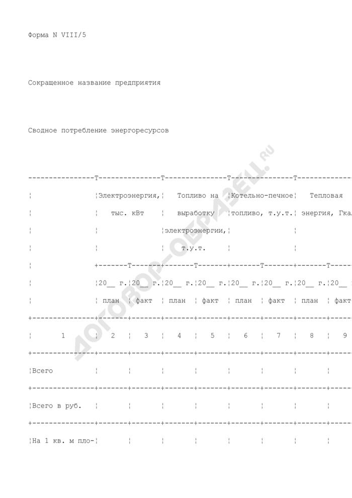 Сводное потребление энергоресурсов предприятия, находящегося в сфере ведения и координации Роспрома. Форма N VIII/5. Страница 1