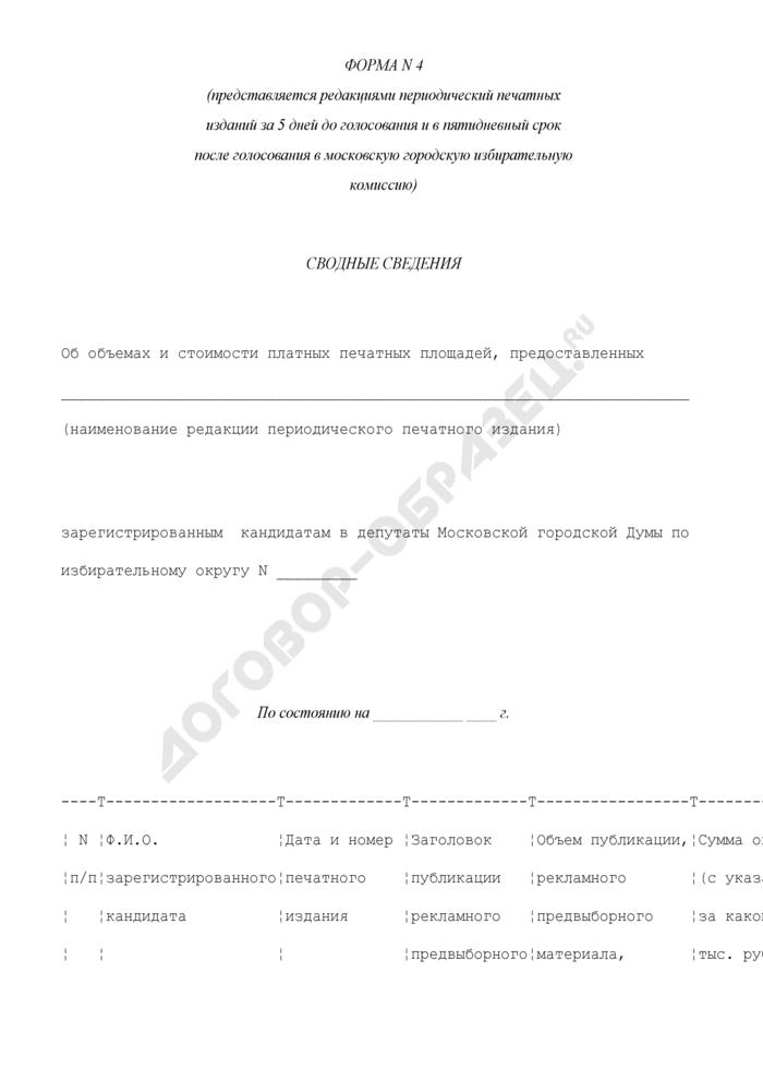 Сводные сведения об объемах и стоимости предоставленных платных печатных площадей. Форма N 4. Страница 1