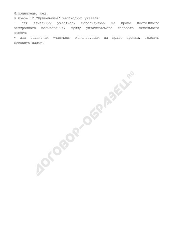 """Приложение к паспорту по недвижимому имуществу """"Сведения о земельных участках"""". Форма N 2. Страница 2"""