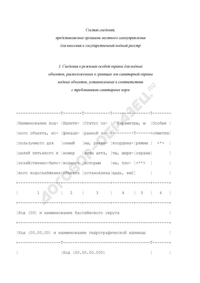Состав сведений, представляемых органами местного самоуправления для внесения в государственный водный реестр. Страница 1