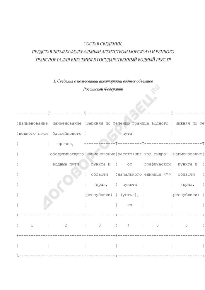 Состав сведений, представляемых Федеральным агентством морского и речного транспорта для внесения в государственный водный реестр. Страница 1
