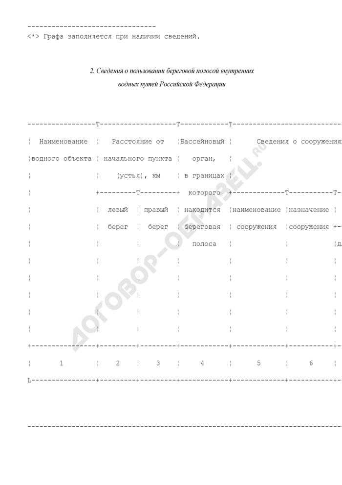 Состав сведений, представляемых Федеральным агентством морского и речного транспорта для внесения в государственный водный реестр. Страница 2