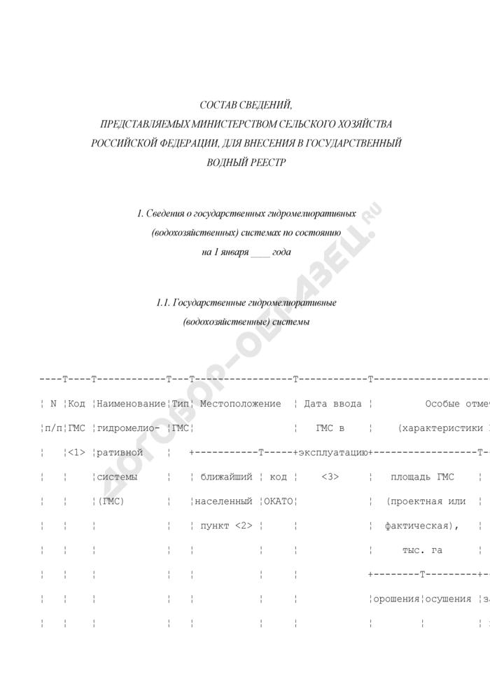Состав сведений, представляемых Министерством сельского хозяйства Российской Федерации, для внесения в государственный водный реестр. Страница 1