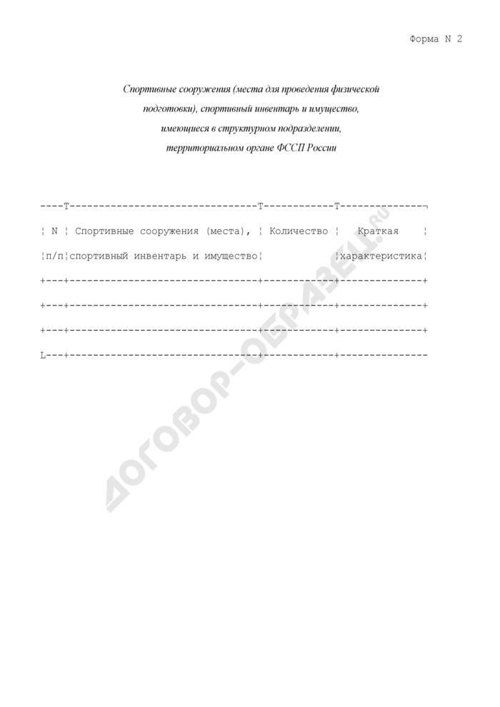 Спортивные сооружения (места для проведения физической подготовки), спортивный инвентарь и имущество, имеющиеся в структурном подразделении, территориальном органе ФССП России. Форма N 2. Страница 1