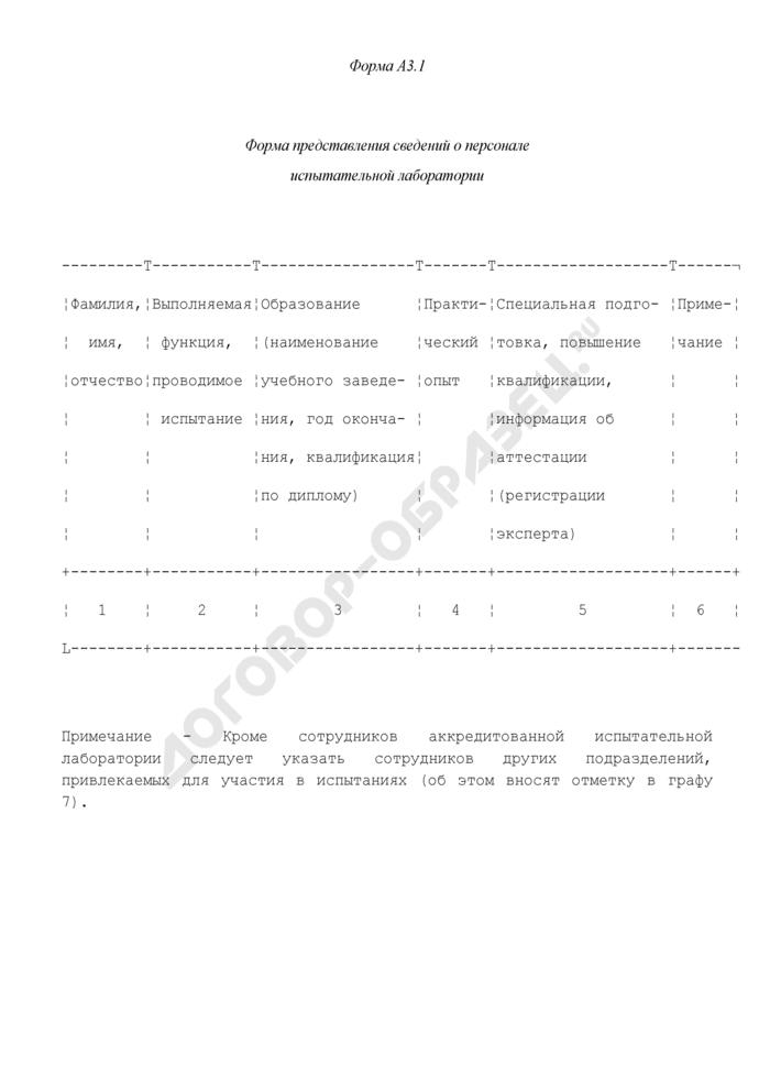 Формы документов, используемых при аккредитации испытательных лабораторий. Форма представления сведений о персонале испытательной лаборатории. Форма N А3.1. Страница 1