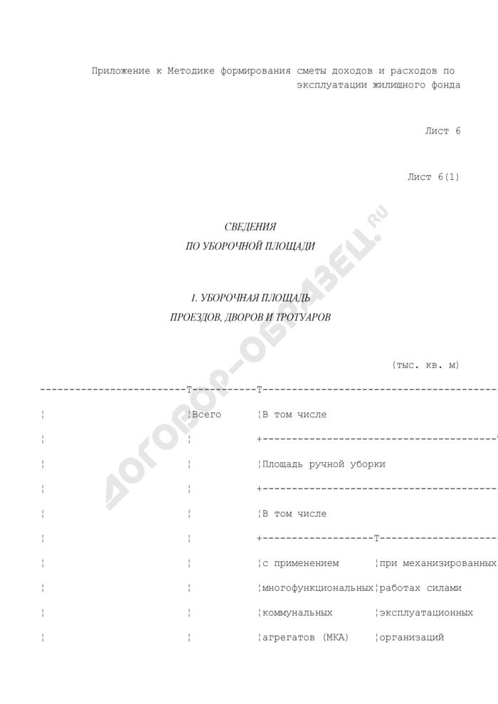 Хозяйственно-финансовый план службы заказчика административного округа. Сведения по уборочной площади (лист 6). Страница 1