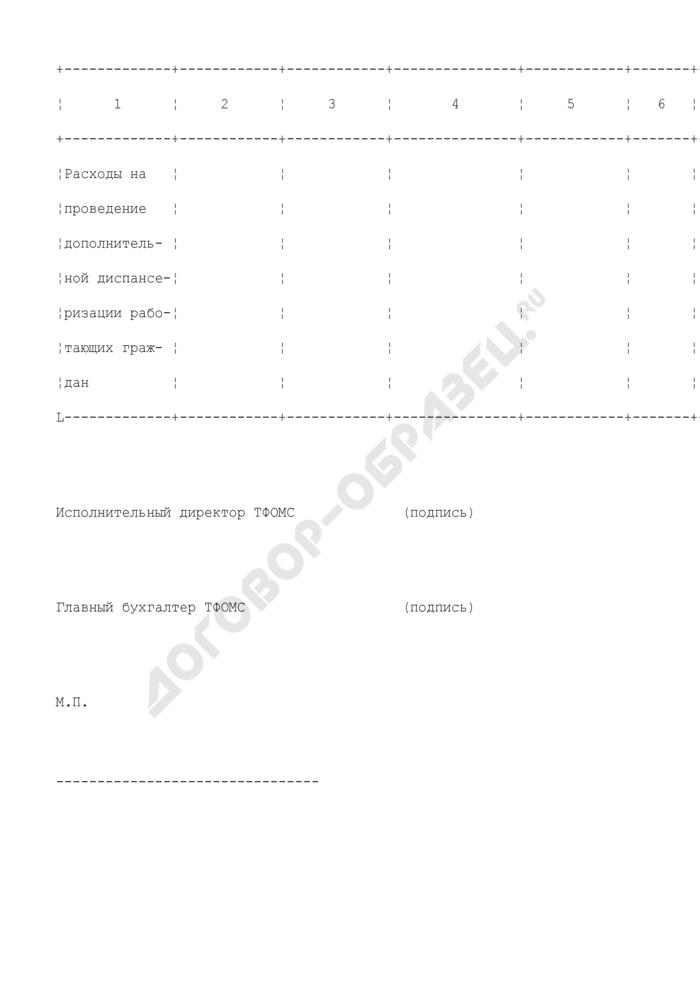 Сведения для завершения расчетов по финансовому обеспечению расходов по проведению дополнительной диспансеризации у работающих граждан (образец). Страница 2