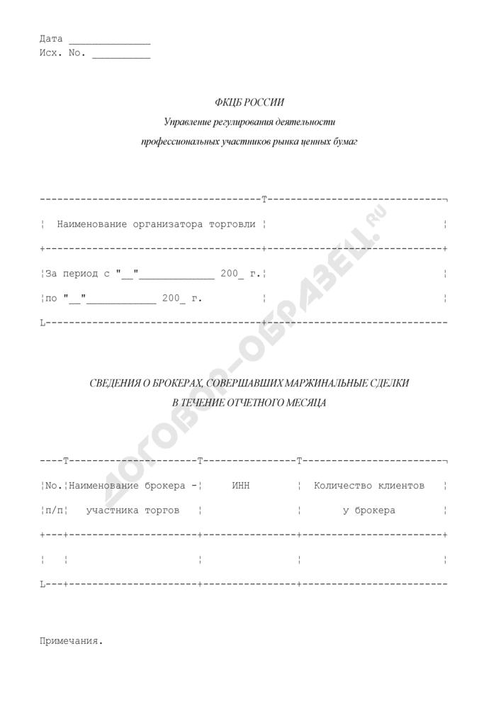 Сведения о брокерах, совершавших маржинальные сделки в течение отчетного месяца. Страница 1