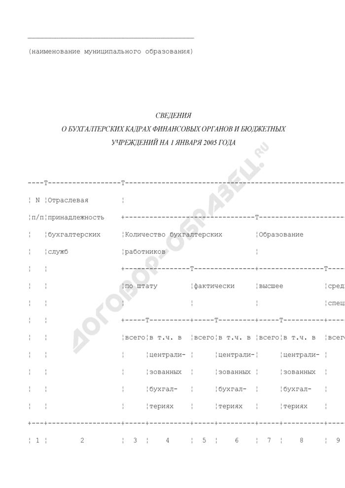 Сведения о бухгалтерских кадрах финансовых органов и бюджетных учреждений. Страница 1