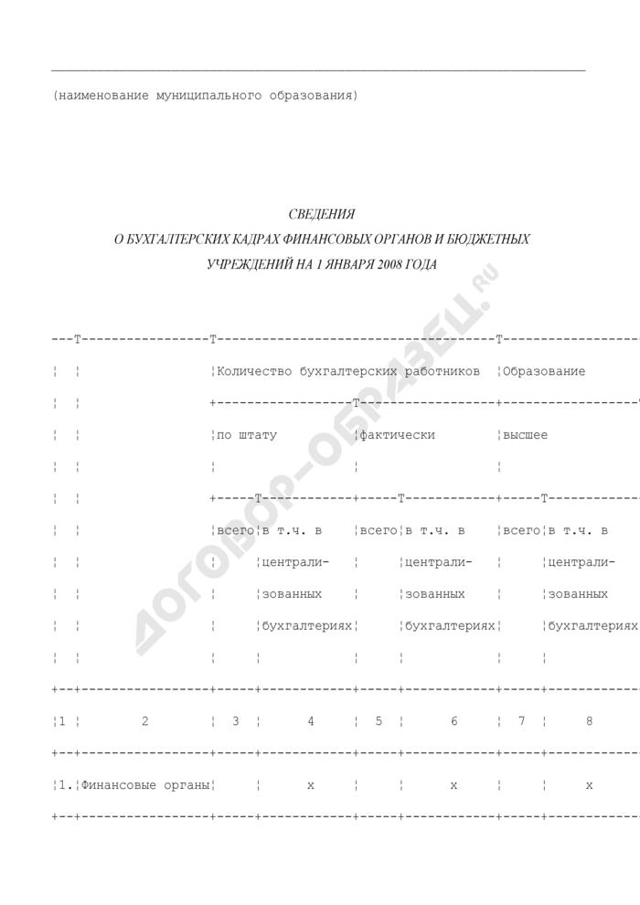 Сведения о бухгалтерских кадрах финансовых органов и бюджетных учреждений Московской области на 1 января 2008 года. Страница 1