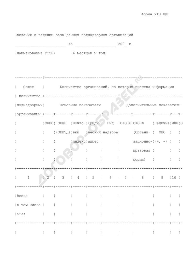 Сведения о ведении базы данных поднадзорных организаций управлению по технологическому и экологическому надзору Ростехнадзора. Форма N УТЭ-БДН. Страница 1