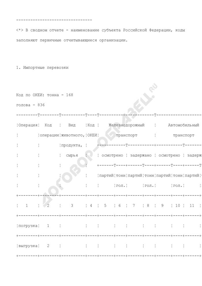 Сведения о ветеринарном надзоре при импорте, экспорте и перевозках животных, продуктов и сырья животного происхождения по Российской Федерации и между странами СНГ. Форма N 7-ВЕТ. Страница 3