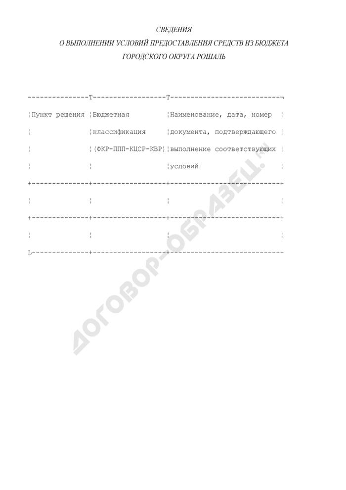 Сведения о выполнении условий предоставления средств из бюджета городского округа Рошаль Московской области. Страница 1