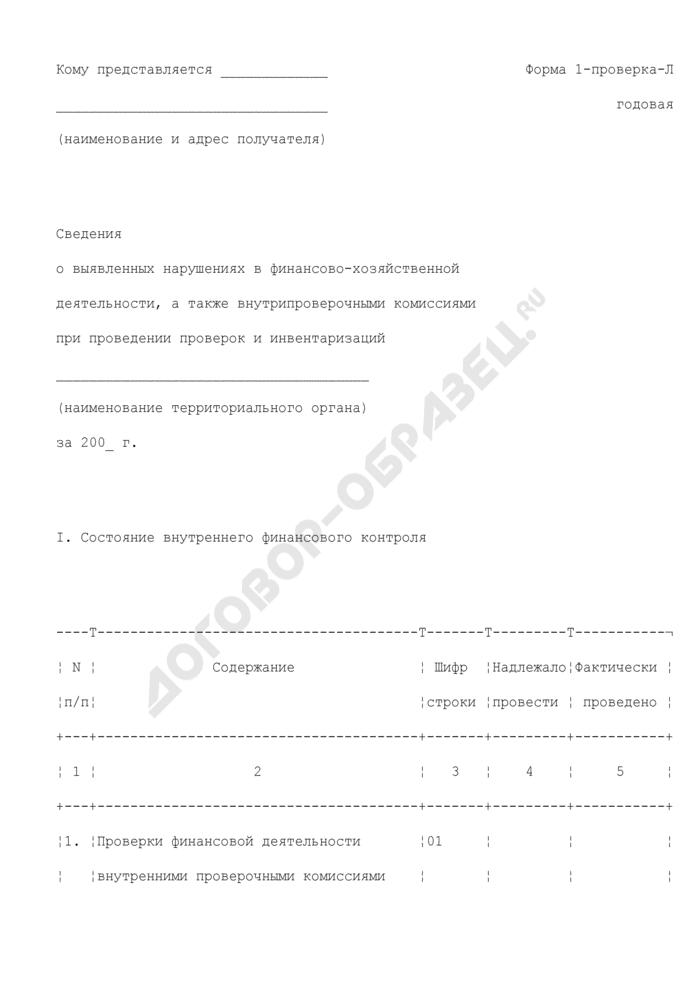 Сведения о выявленных нарушениях в финансово-хозяйственной деятельности, а также внутрипроверочными комиссиями при проведении проверок и инвентаризаций. Форма N 1-проверка-Л (годовая). Страница 1