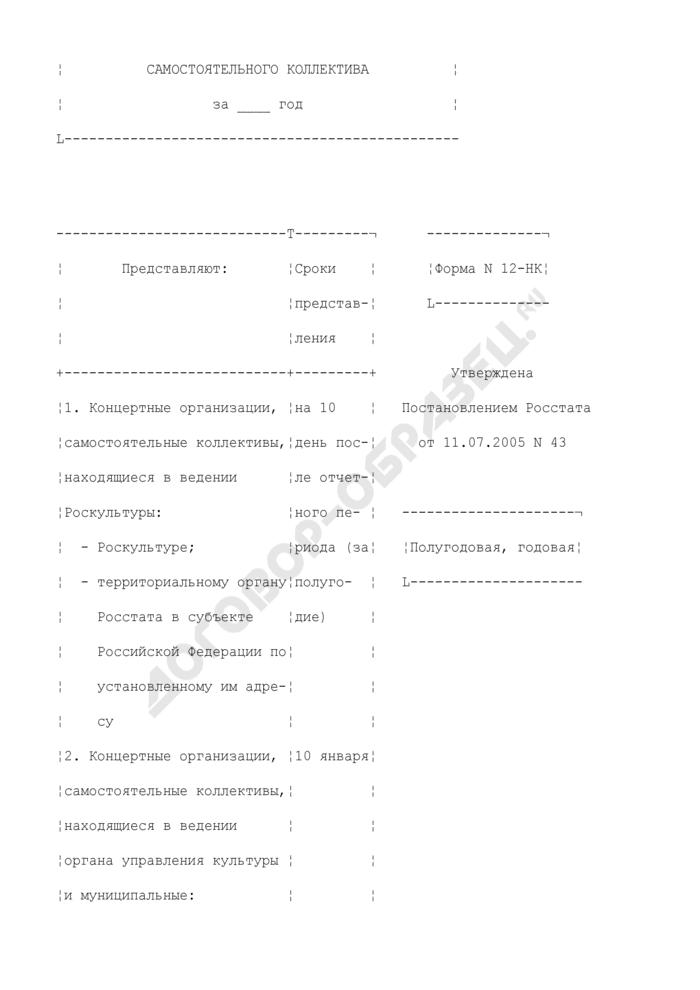 Сведения о деятельности концертной организации, самостоятельного коллектива. Форма N 12-НК. Страница 2