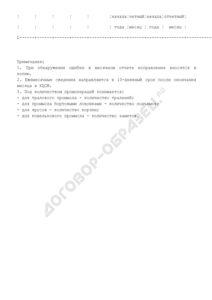 Ежемесячные сведения о рыбном промысле в исключительной экономической зоне Российской Федерации (направляются по E-mail, телеграфом или факсом). Страница 2
