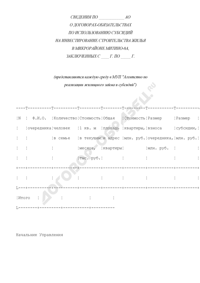 Сведения о договорах-обязательствах по использованию субсидий на инвестирование строительства жилья по акционерному обществу. Страница 1