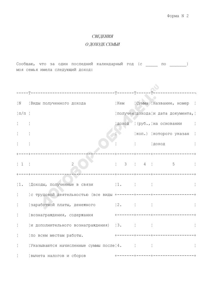 Сведения о доходе малоимущей семьи для принятия ее на учет в качестве нуждающейся в жилых помещениях на территории городского поселения Зарайск Московской области. Форма N 2. Страница 1