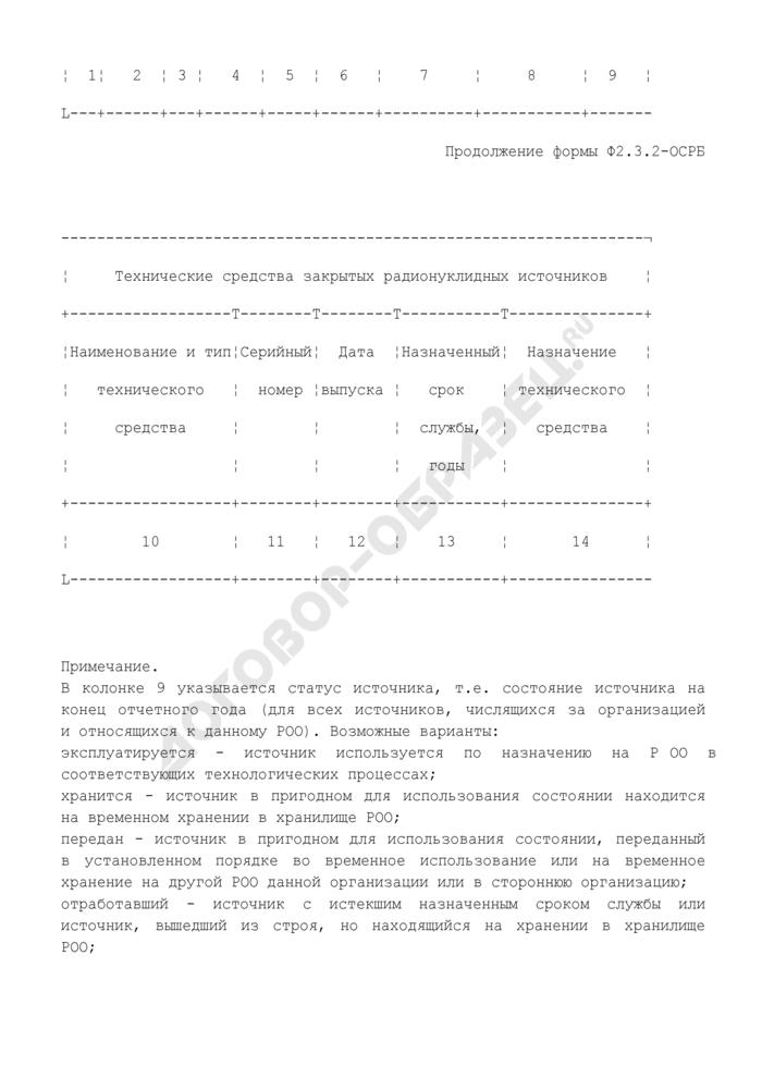 Сведения о закрытых радионуклидных источниках, имеющихся на радиационно опасном объекте, и об их использовании в составе технических средств, входящих в состав радиационно опасного объекта. Форма N Ф2.3.2-ОСРБ. Страница 2