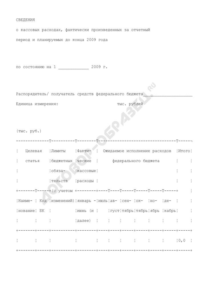 Сведения о кассовых расходах, фактически произведенных за отчетный период и планируемых до конца года. Страница 1