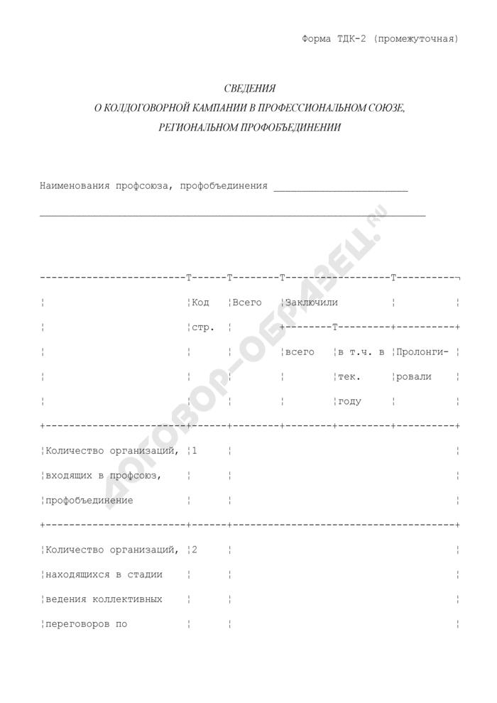 Сведения о колдоговорной кампании в профессиональном союзе, региональном профобъединении. Форма N ТДК-2 (промежуточная). Страница 1