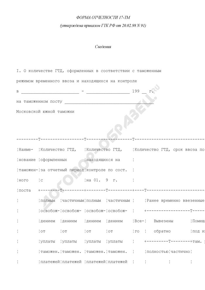 Сведения о количестве грузовых таможенных деклараций, оформленных в соответствии с таможенным режимом временного ввоза (вывоза) и находящихся на контроле. Форма N 17-ТМ. Страница 1