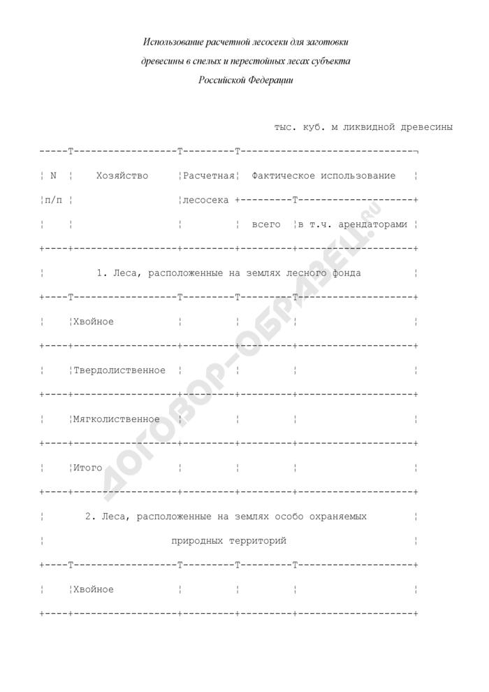 Использование расчетной лесосеки для заготовки древесины в спелых и перестойных лесах субъекта Российской Федерации (приложение к типовой форме лесного плана субъекта Российской Федерации). Страница 1