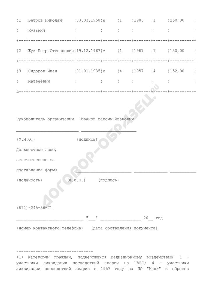 """Сведения о лицах, принимавших участие в ликвидации последствий радиационных аварий, произошедших до 2004 г. (пример заполнения). Форма N Р-1 """"Ликвидаторы. Страница 2"""